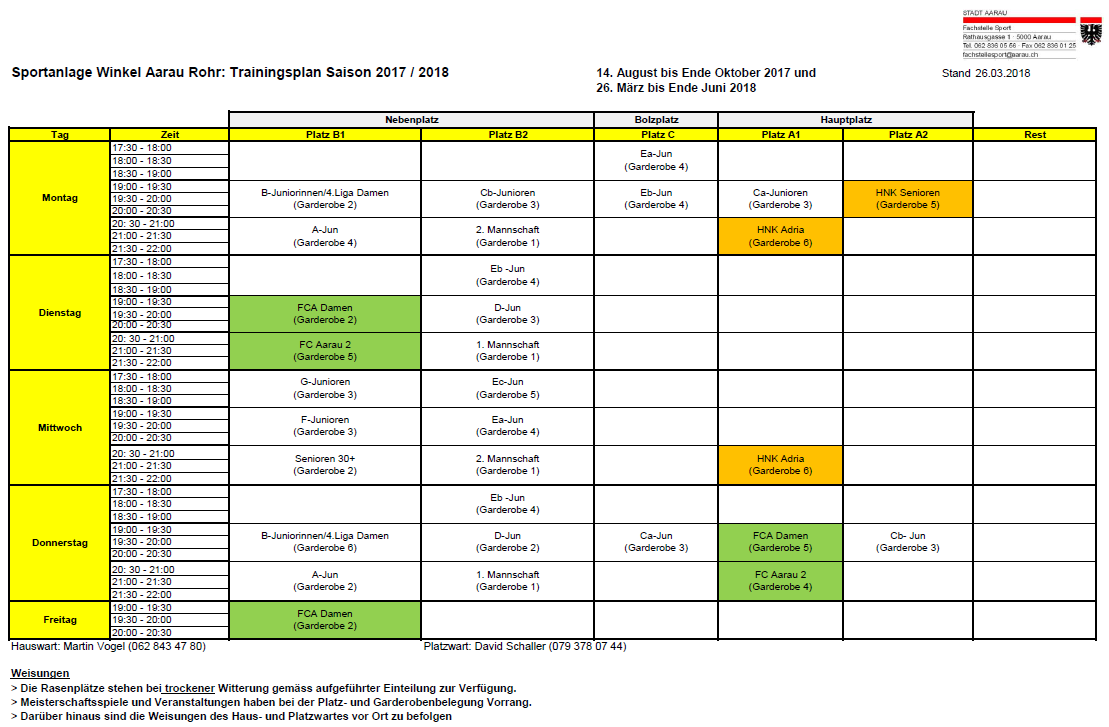 Trainingsplan Rückrunde 2017/2018